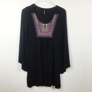 Voll | Boutique Bell Sleeve Embroidered Boho Dress